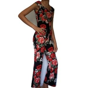 Fashion Nova Jumpsuit - Black with Red Flowers